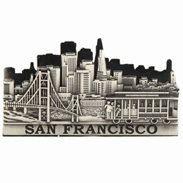 San Francisco Cable Car/Golden Gate Skyline Pewter Business Card Holder