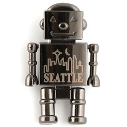 Seattle Skyline Robot Gun Metal Magnet