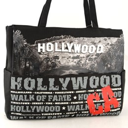 Hollywood Walk of Fame Black Canvas Tote