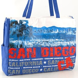 San Diego Harbor Blue Canvas Tote