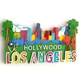 Los Angeles/Hollywood Skyline Glitter Poly Magnet