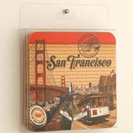 San Francisco Stamp Cork 4 Piece Set Square Coasters
