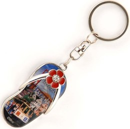 San Francisco Collage Sandalshape Metal Keychain